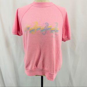Vintage Bassett Walker Pink Sweatshirt Seahorse